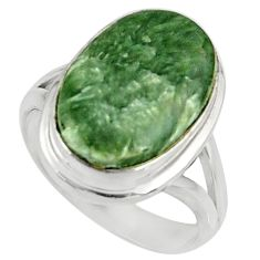 10.23cts natural green seraphinite (russian) silver solitaire ring size 8 r28300