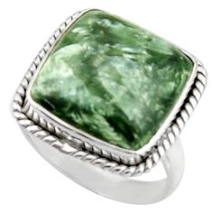 14.88cts natural green seraphinite 925 silver solitaire ring size 9.5 d46545