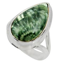 9.98cts natural green seraphinite 925 silver solitaire ring size 6.5 r28282