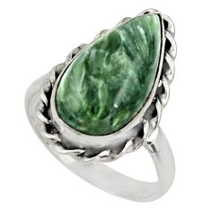 12.07cts natural green seraphinite 925 silver solitaire ring size 9.5 r28285