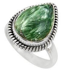 9.04cts natural green seraphinite 925 silver solitaire ring size 6.5 r28288
