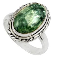 8.21cts natural green seraphinite 925 silver solitaire ring size 8.5 r28289