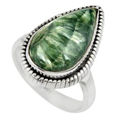 12.07cts natural green seraphinite 925 silver solitaire ring size 7.5 r28325