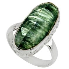 9.05cts natural green seraphinite 925 silver solitaire ring size 6.5 r28364
