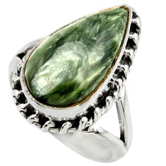 7.53cts natural green seraphinite 925 silver solitaire ring size 5.5 r28820