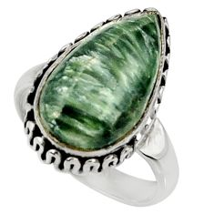 10.41cts natural green seraphinite 925 silver solitaire ring size 7 r28281