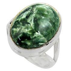 13.63cts natural green seraphinite 925 silver solitaire ring size 7 r28287