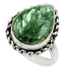 10.29cts natural green seraphinite 925 silver solitaire ring size 7 r28291
