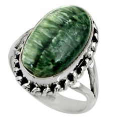 8.83cts natural green seraphinite 925 silver solitaire ring size 7 r28361