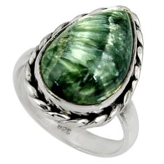 10.84cts natural green seraphinite 925 silver solitaire ring size 7 r28366