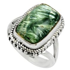 11.62cts natural green seraphinite 925 silver solitaire ring size 8 r28283