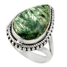 11.02cts natural green seraphinite 925 silver solitaire ring size 8 r28323