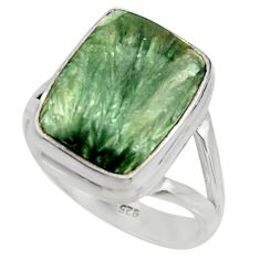 7.84cts natural green seraphinite 925 silver solitaire ring size 8 r28329