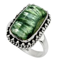 8.14cts natural green seraphinite 925 silver solitaire ring size 8 r28362
