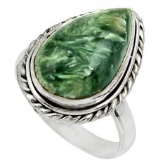 10.84cts natural green seraphinite 925 silver solitaire ring size 9 r28286