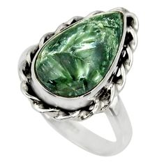 8.77cts natural green seraphinite 925 silver solitaire ring size 9 r28292