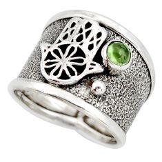 0.57cts natural green tourmaline 925 silver hand of god hamsa ring size 7 d45926