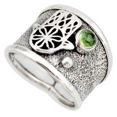 0.57cts natural green tourmaline 925 silver hand of god hamsa ring size 7 d45927