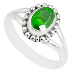 1.51cts natural green tourmaline silver solitaire handmade ring size 6 r82163