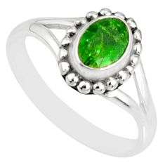1.57cts natural green tourmaline silver solitaire handmade ring size 8 r82162