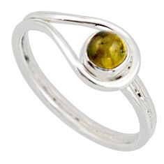 0.87cts natural green tourmaline 925 silver solitaire ring jewelry size 9 d46413