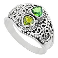 1.94cts natural green tourmaline 925 sterling silver ring jewelry size 9 t44862