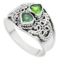 1.74cts natural green tourmaline 925 sterling silver ring jewelry size 9 t44885