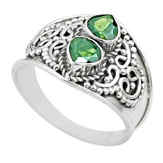 1.70cts natural green tourmaline 925 sterling silver ring size 8.5 t44861