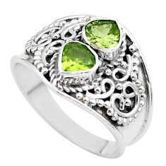 1.75cts natural green tourmaline 925 sterling silver ring size 7.5 t44882