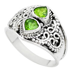 1.92cts natural green tourmaline 925 sterling silver ring size 7.5 t44889