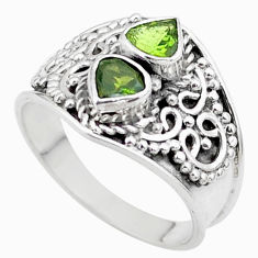 1.94cts natural green tourmaline heart 925 sterling silver ring size 7 t44886