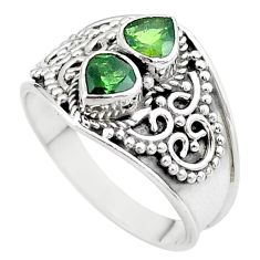 1.92cts natural green tourmaline heart 925 sterling silver ring size 8.5 t44890