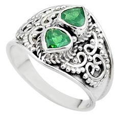 1.81cts natural green tourmaline heart 925 sterling silver ring size 7.5 t44891
