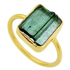 5.88cts natural green tourmaline raw 14k gold handmade ring size 7.5 r70991