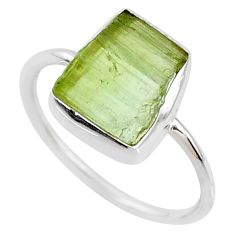 5.79cts natural green tourmaline raw 925 silver solitaire ring size 8 r70956