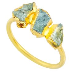 4.46cts natural green tourmaline raw 14k gold handmade ring size 8 r70733