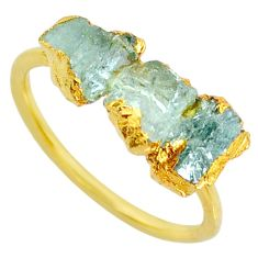 5.08cts natural green tourmaline raw 14k gold handmade ring size 9 r70728
