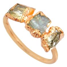 4.07cts natural green tourmaline raw silver 14k rose gold ring size 6.5 r70699