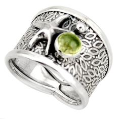 1.02cts natural green tourmaline silver star fish solitaire ring size 7.5 d45905