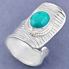 4.29cts natural green turquoise tibetan 925 silver adjustable ring size 6 r63266