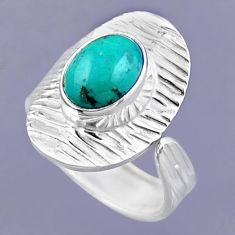 4.28cts natural green turquoise tibetan 925 silver adjustable ring size 8 r54706