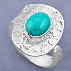 4.22cts natural green turquoise tibetan 925 silver adjustable ring size 9 r63245
