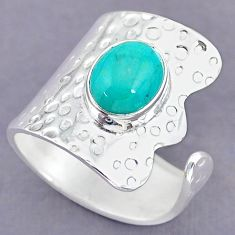 4.19cts natural green turquoise tibetan 925 silver adjustable ring size 9 r90575