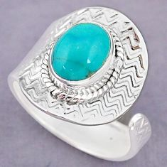 4.06cts natural green turquoise tibetan 925 silver adjustable ring size 9 r90669