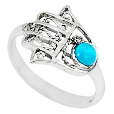 Natural green turquoise tibetan 925 silver hand of god hamsa ring size 6 c10723