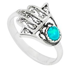 Natural green turquoise tibetan 925 silver hand of god hamsa ring size 6 c10731
