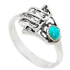 Natural green turquoise tibetan 925 silver hand of god hamsa ring size 6 c26160