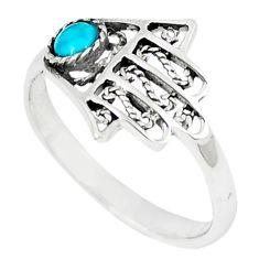 Natural green turquoise tibetan 925 silver hand of god hamsa ring size 7 c10736