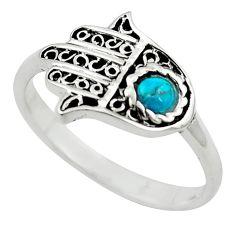 Natural green turquoise tibetan 925 silver hand of god hamsa ring size 8 c10726