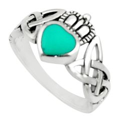 1.17cts natural green turquoise tibetan 925 silver mens ring size 6.5 c9781